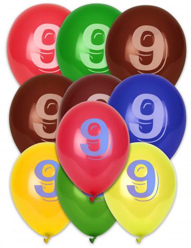 10 Ballons chiffre 9 multicolores 30 cm