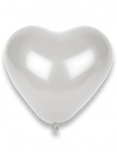 8 Ballons cœurs blancs 33 x 36 cm