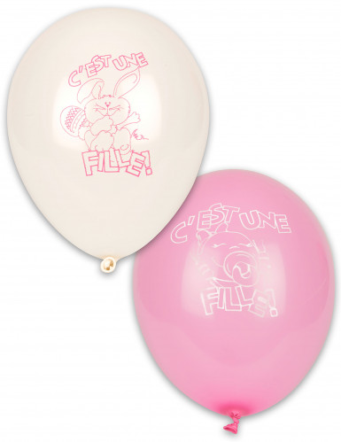10 Ballons C'est une fille ! blancs et roses 30 cm