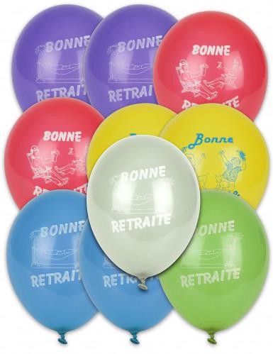 10 Ballons bonne retraite multicolores 30 cm