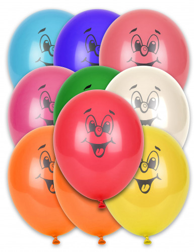 10 Ballons smile multicolores 30 cm