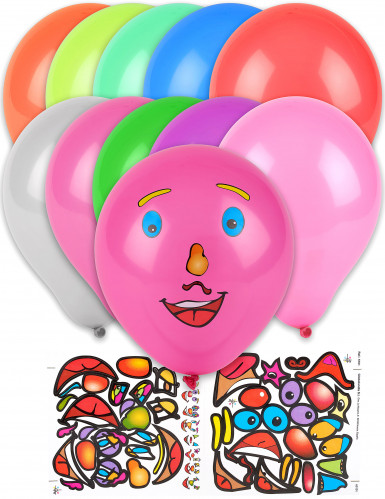 10 Ballons stickers visage multicolores 30 cm