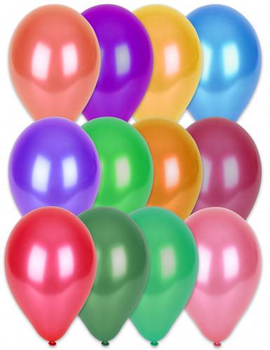 100 Ballons multicolores métallisés 29 cm