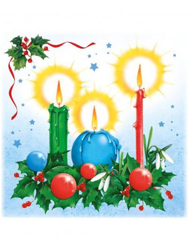 20 Serviettes Bougies de Noël 33 x 33 cm