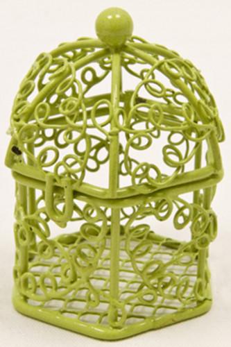 Mini cage à oiseaux en métal vert anis 5,5 x 4,5 cm