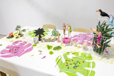 4 Sets de table en forme de feuille vert anis 35 x 40 cm-3