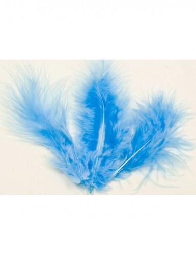 20 Plumes de décoration bleu 5,5 cm