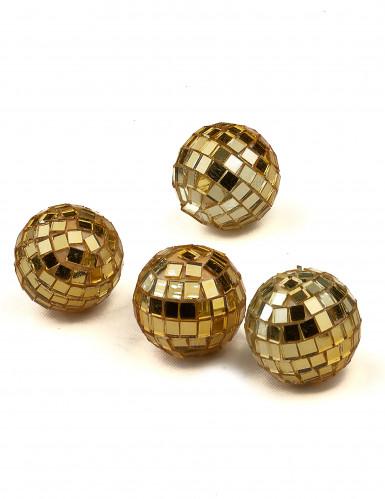 4 Mini boules à facettes dorées 3,5 cm