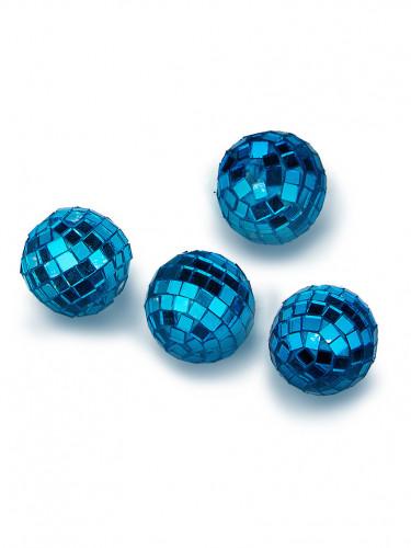 4 Mini boules à facettes turquoises 3,5 cm