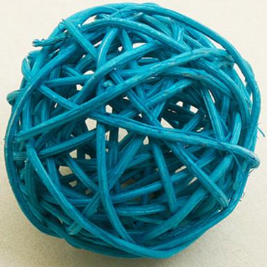6 Boules en osier turquoises 3,5 cm