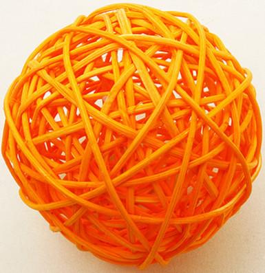 2 boules en osier orange (Dia. 6 cm)