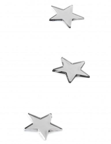 10 Mini miroirs étoiles argentés 3 x 3 cm-1