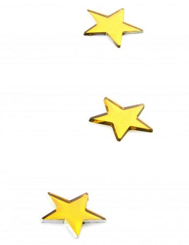 10 Mini miroirs étoiles dorées 3 x 3 cm-1