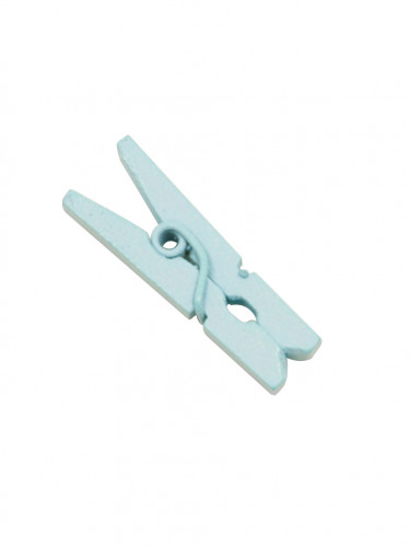 10 Mini pinces à linge en bois bleu ciel 2.5 cm