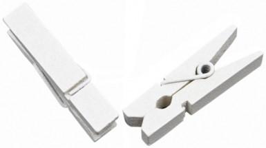 25 Pinces à linge en bois blanches 3,5 cm