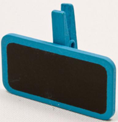 6 Pinces à linge avec une mini ardoise turquoise 4 x 2 cm