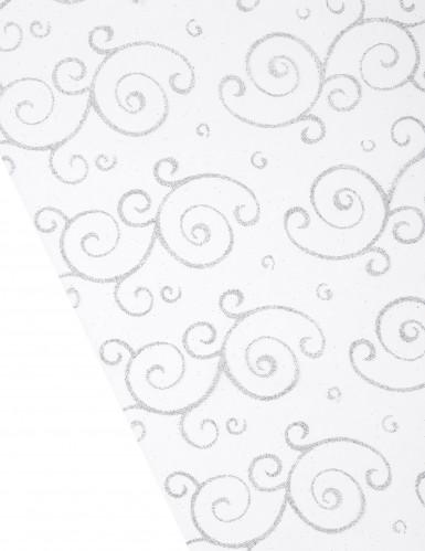 Chemin de table organza blanc arabesques pailletées 28 cm x 5 m-1