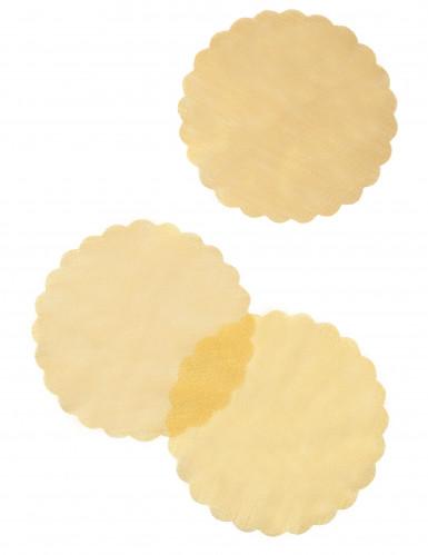 6 Ronds de tulle aspect métallisé or 24 cm-1
