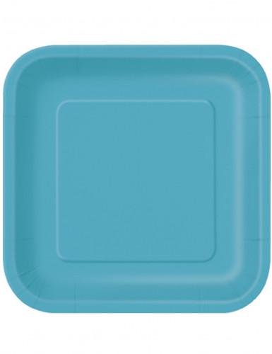 14 Grandes assiettes en carton bleues caraïbe 23 cm
