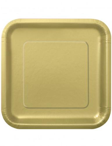 14 Grandes assiettes en carton or 23 cm