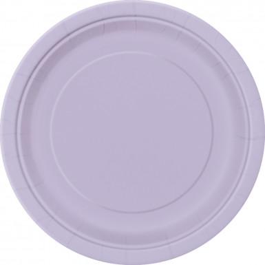 16 Grandes assiettes en carton lavande 23 cm