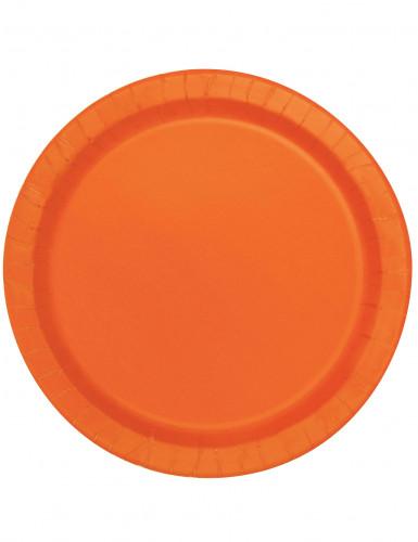 16 Grandes assiettes en carton orange 22 cm