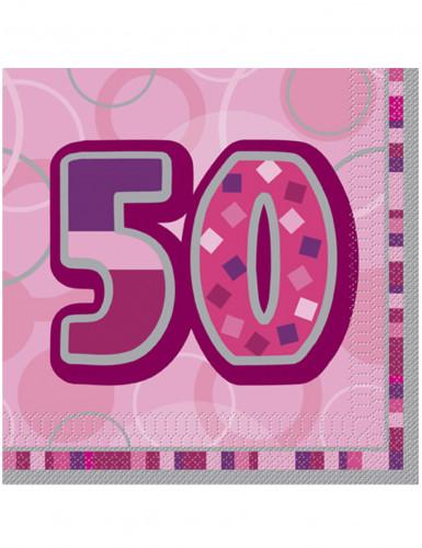 16 Serviettes en papier Age 50 ans roses 33 x 33 cm