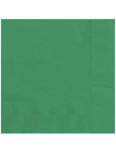 20 Serviettes en papier vert émeraude 33 x 33 cm