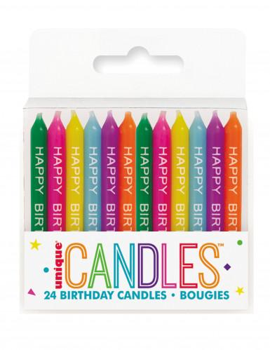 24 Bougies d'anniversaire multicolores 6,5 cm