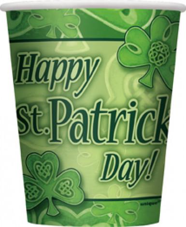 8 Gobelets en carton Trèfle de la St Patrick