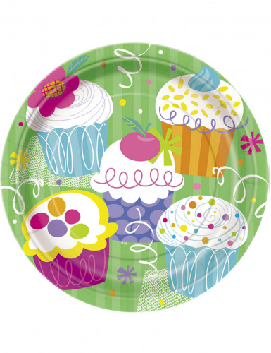 8 Assiettes en carton Cupcake Party 23 cm