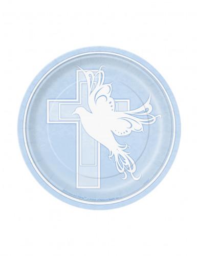 8 Petites assiettes en carton Baptême bleue 18 cm