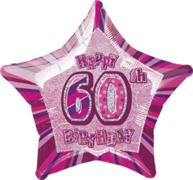 Ballon étoile rose Age 60 ans