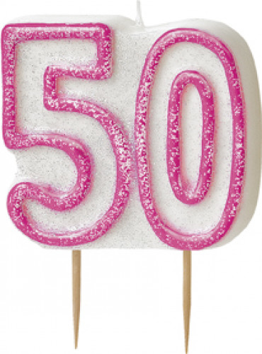 Bougie Age 50 ans rose