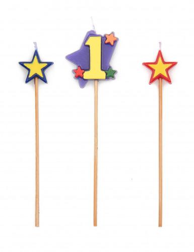 Bougie chiffre 1 étoiles