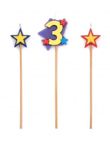 Bougie chiffre 3 étoiles