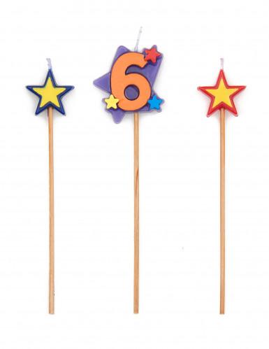 Bougie chiffre 6 étoiles
