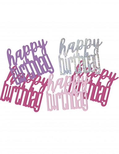 Confettis rose et gris Happy Birthday