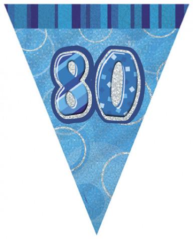 Guirlande Fanions bleue Age 80 ans