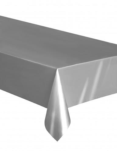 Nappe rectangulaire en plastique argent 137 x 274 cm