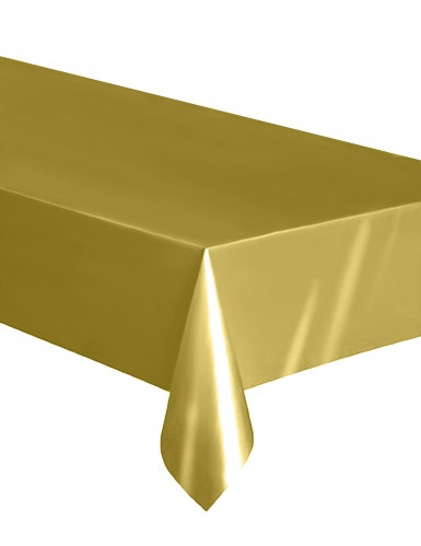 Nappe rectangulaire en plastique or 137 x 274 cm