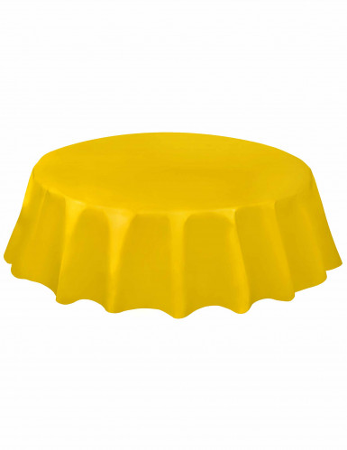 nappe ronde en plastique jaune 213 cm d coration anniversaire et f tes th me sur vegaoo party. Black Bedroom Furniture Sets. Home Design Ideas