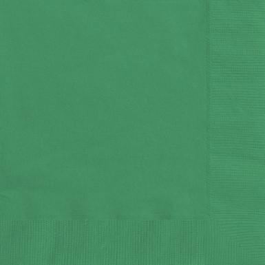 50 Serviettes en papier vertes 33 x 33 cm
