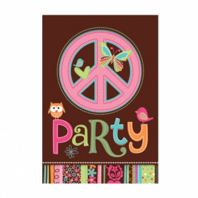 8 cartes d'invitation Hippie