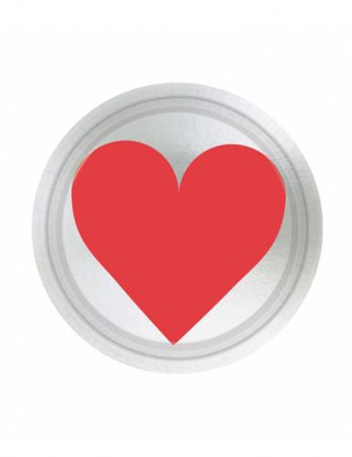 8 Petites assiettes Cœur en carton 18 cm