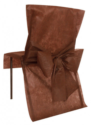 10 Housses de chaise Premium chocolat 50 x 95 cm