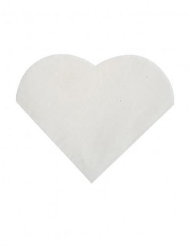 20 Petites serviettes coeur en papier blanc 9 x 12 cm