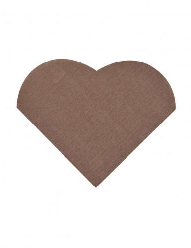 20 Petites serviettes coeur en papier chocolat 9 x 12 cm
