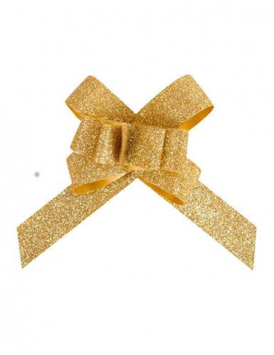 10 Petits nœuds automatiques pailletés dorés 14 mm