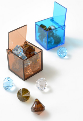 4 Boîtes cube Turquoise-1